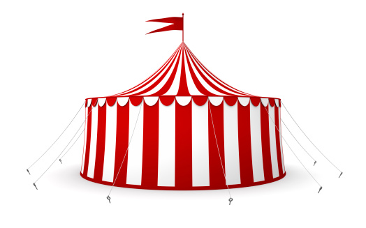 Circus tent with flag isolated on a white background.Could be useful in a circus or big tent sale composition.This is a detailed 3d rendering.