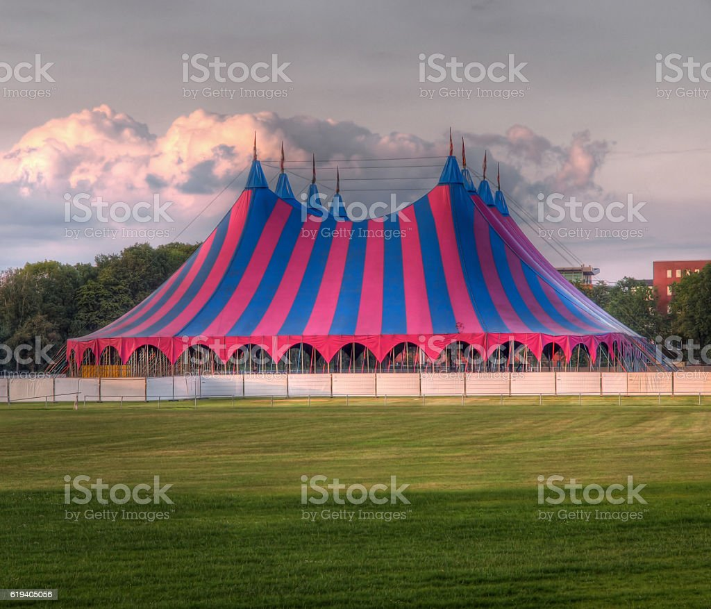 circus tent red blue green stock photo
