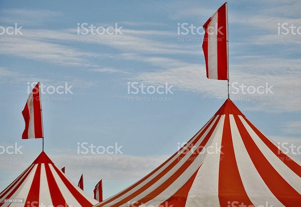 Circus Tents Under A Blue Summer Sky stock photo