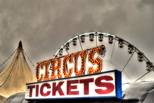 Circus tickets sign