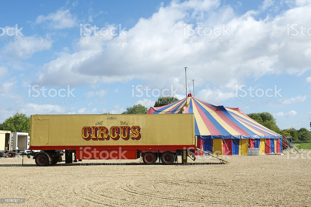 Circus truck and Big Top stock photo