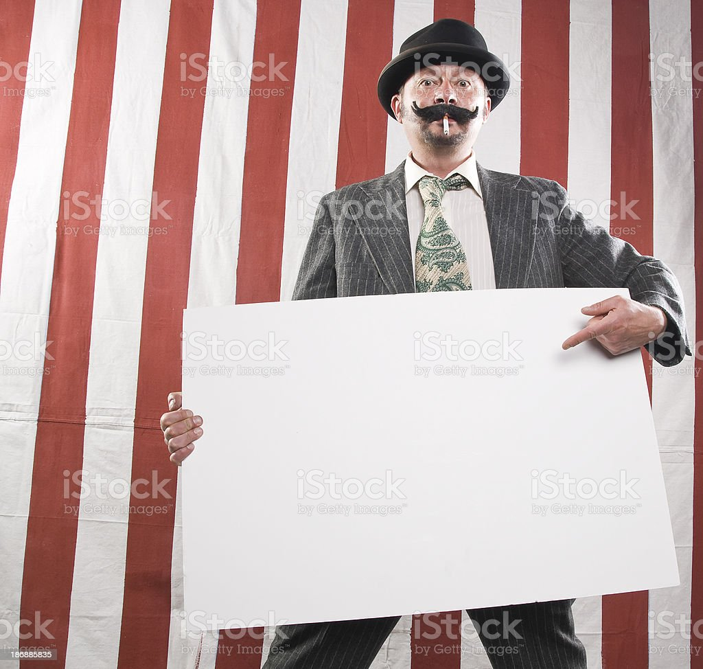 Circus Worker with Empty Sign royalty-free stock photo