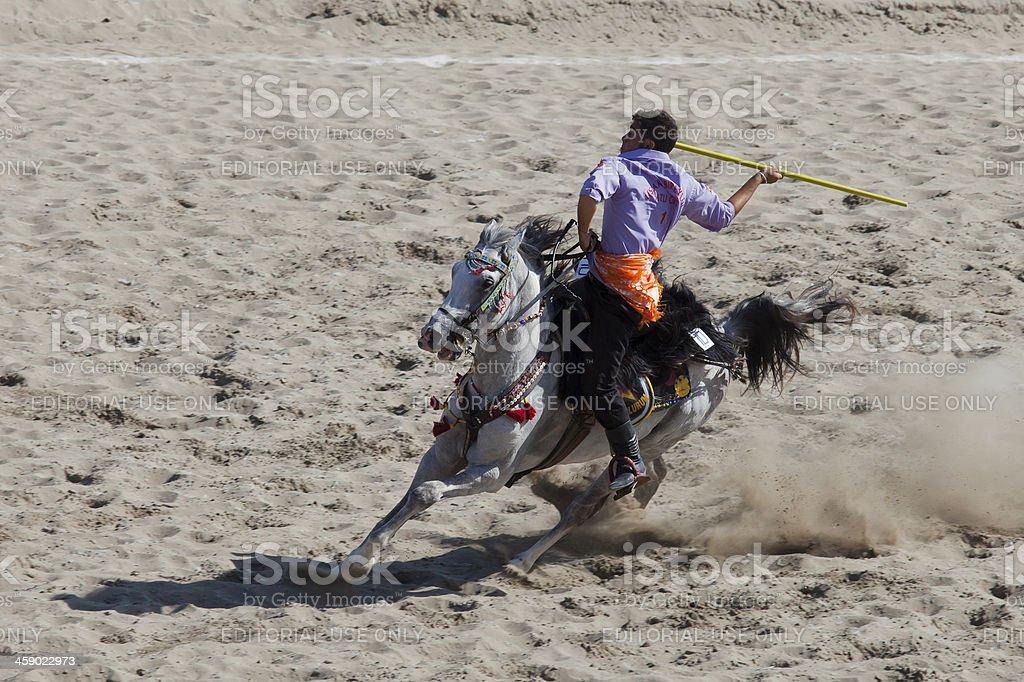 Cirit player's man riding white horse royalty-free stock photo