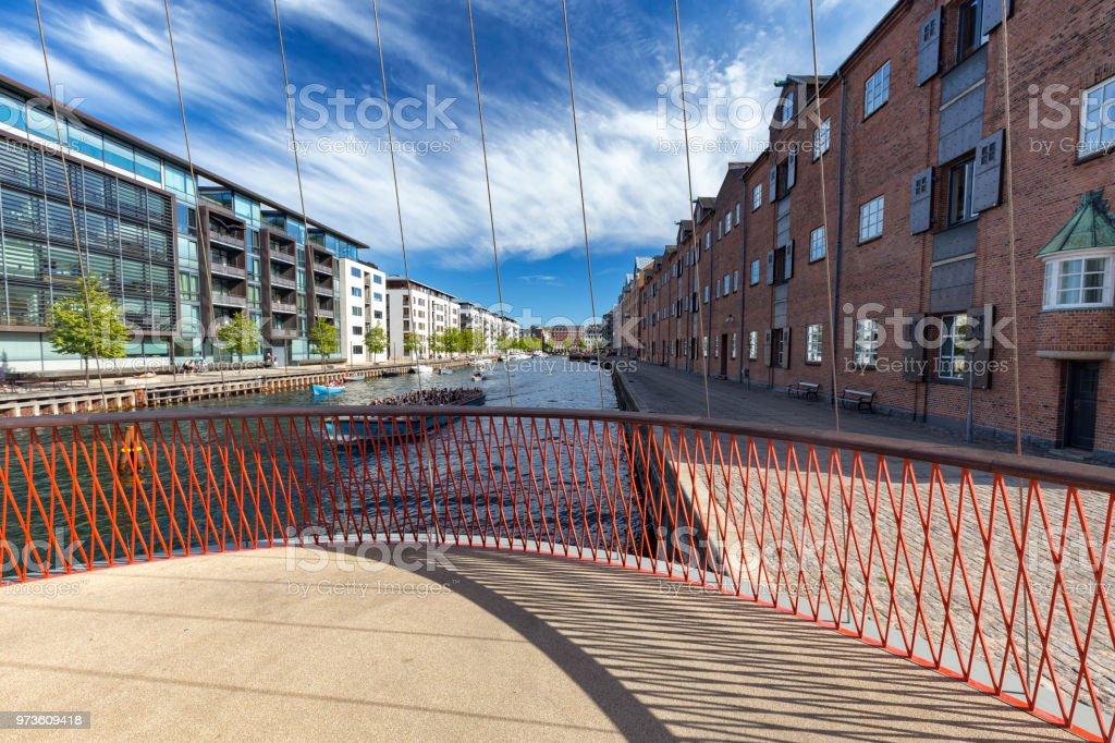 Cirkelbroen bridge christianshavn canal stock photo