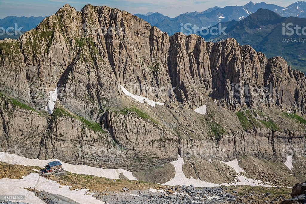 Cirque de Gavarnie, with the Gavarnie falls view from royalty-free stock photo
