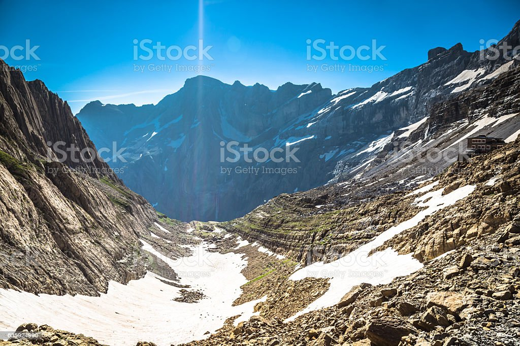 Cirque de Gavarnie, with the Gavarnie falls view from stock photo