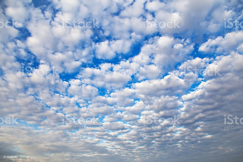 Cirrocumulus Cloud in blue sky on sunny peaceful day. stock photo