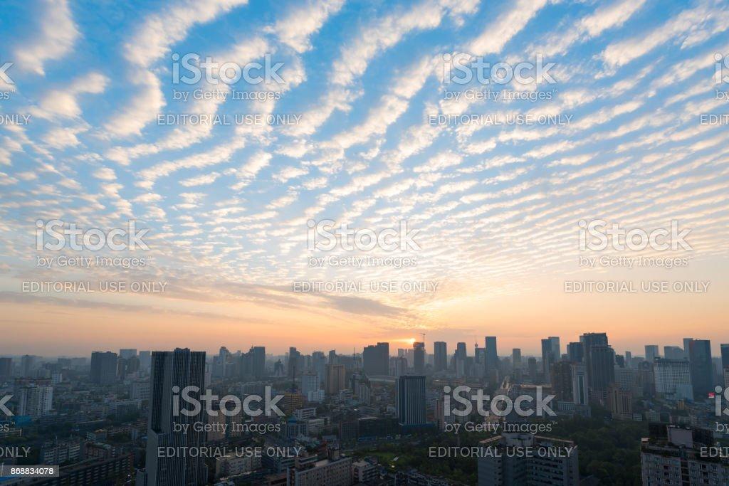 Cirrocumus clouds at sunrise above Chengdu stock photo