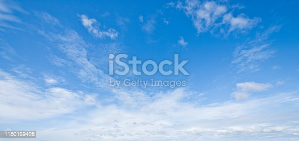 Cirrus clouds appear in a blue sky over Damon Point in Ocean Shores, Washington State, USA.