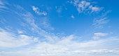 Cloudscape background of a cirrus cloud black and white monochrome image