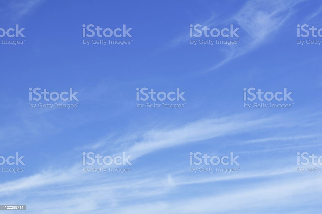 Cirrus clouds with a bright blue sky stock photo