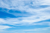Cirrus cloudscape with tropical deep blue sky.-