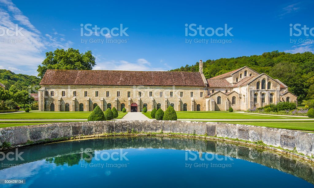 Cistercian Abbey of Fontenay, Burgundy, France stock photo