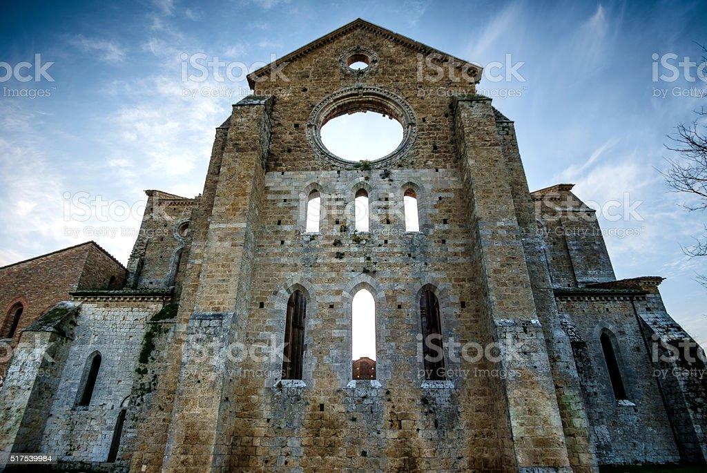 Cistercian Abbey of San Galgano near Chiusdino, Tuscany, Italy stock photo