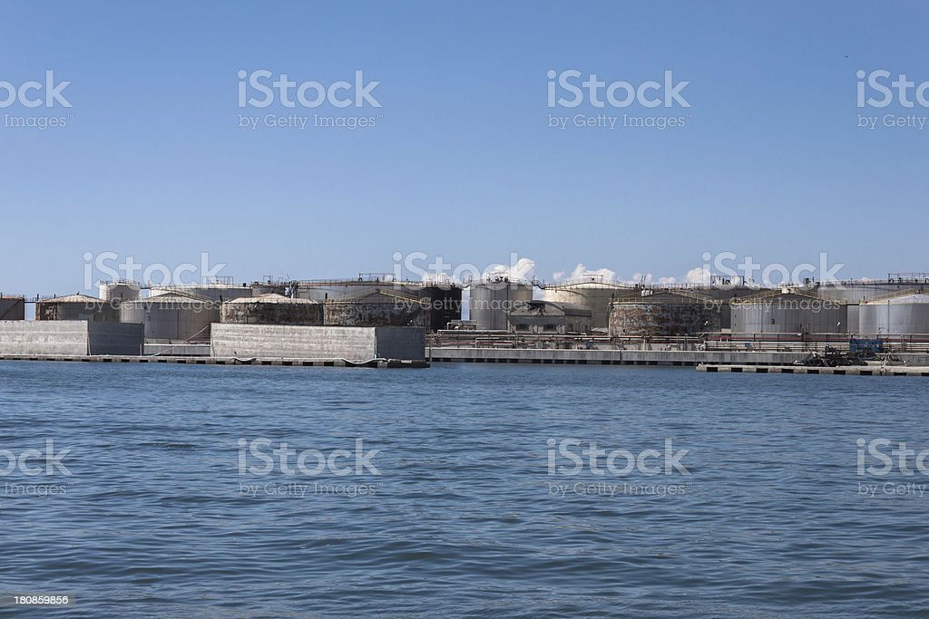 Cisterns in the port of Genoa, Italy royalty-free stock photo