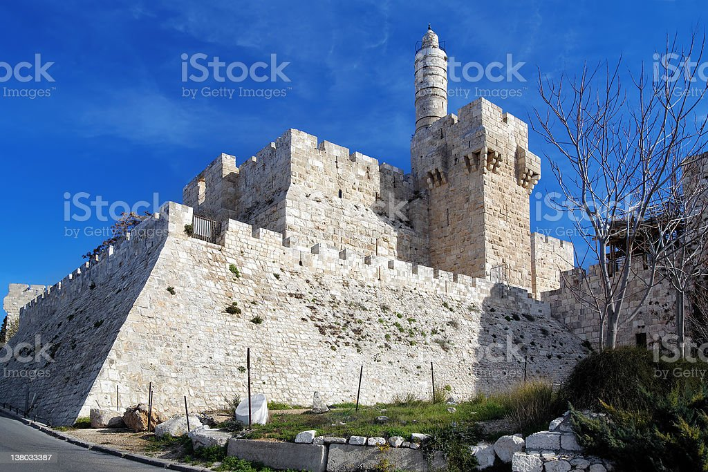 Citadel and Tower of David in Jerusalem stock photo
