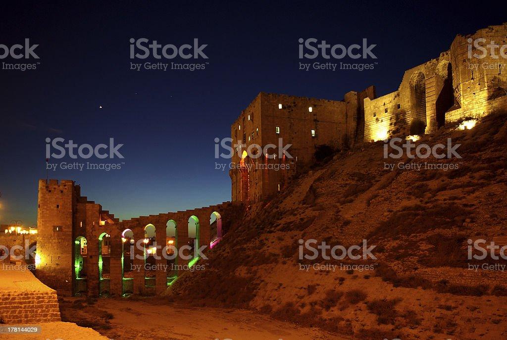 Citadel at the dusk, Aleppo, Syria stock photo