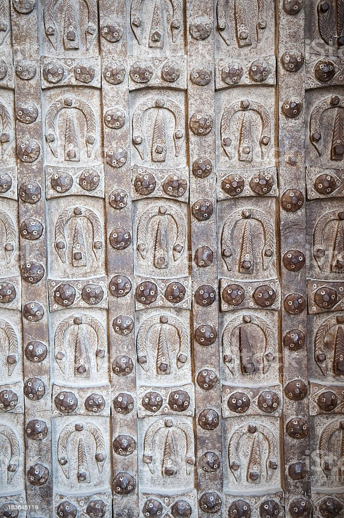 Citadel door in Aleppo, Syria royalty-free stock photo