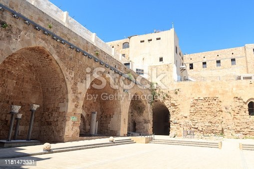 Citadel of Acre crusader fortress inner courtyard in Akko Old City, Israel
