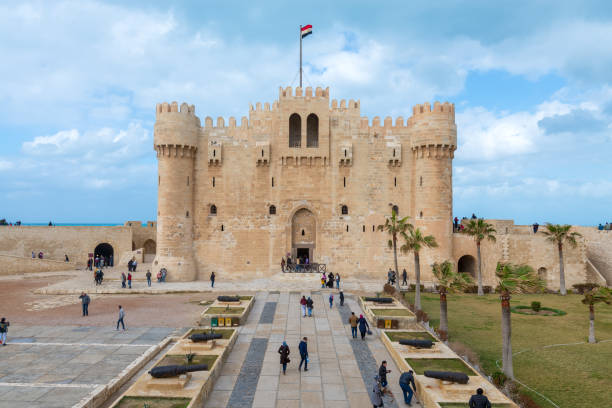 Citadel of Qaitbay, a 15th century defensive fortress located on the Mediterranean sea coast, Alexandria, Egypt, established in 1477 AD stock photo