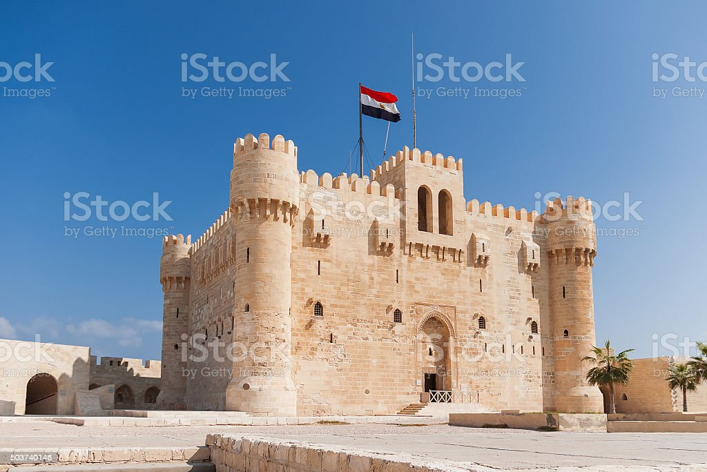 Citadel of Qaitbay fortress and its main entrance yard, Egypt. stock photo