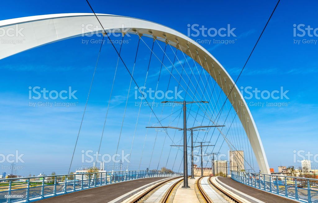 Citadelle Bridge across Bassin Vauban for trams and bicycles. Strasbourg - France stock photo