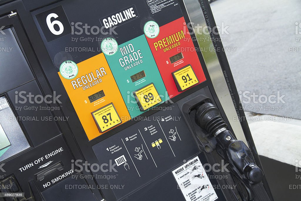 Citgo gas pump showing high prices and grades angle shot stock photo