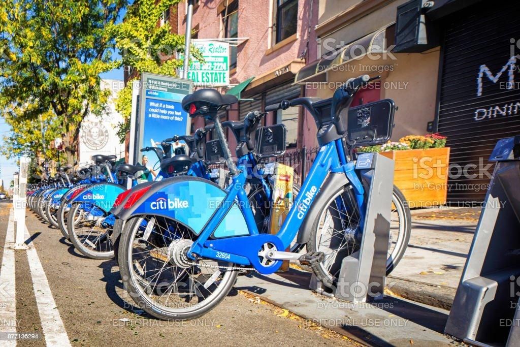 Citi bike station in Williamsburg brooklyn stock photo