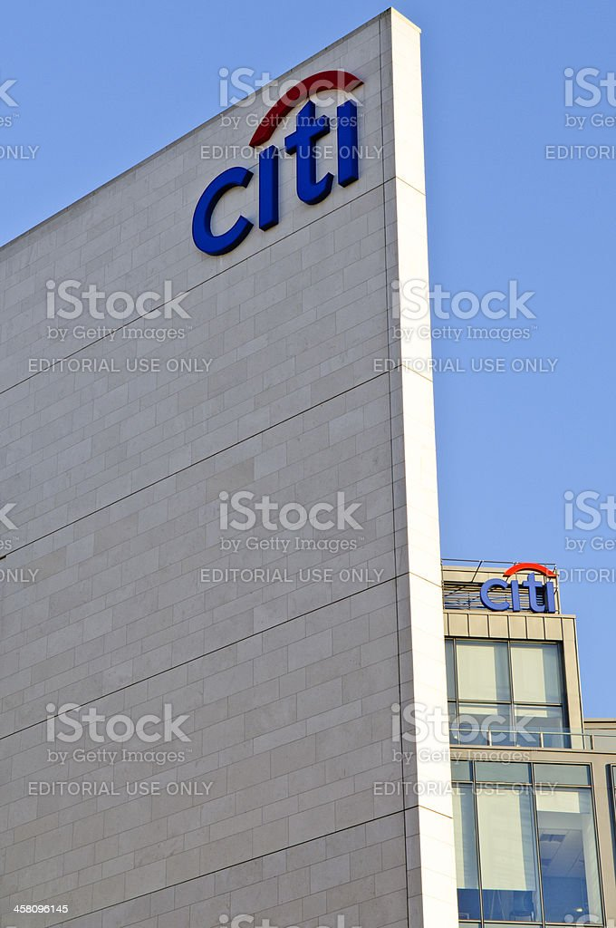 Citi logos on the Citibank building in Belfast stock photo
