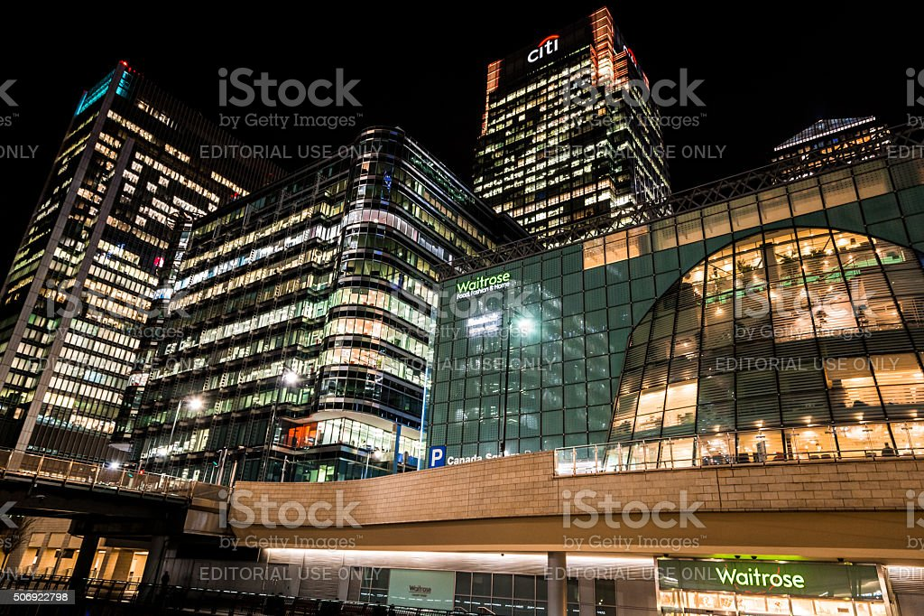 Citibank and Waitrose Headquarters at Canary Wharf, London, UK stock photo
