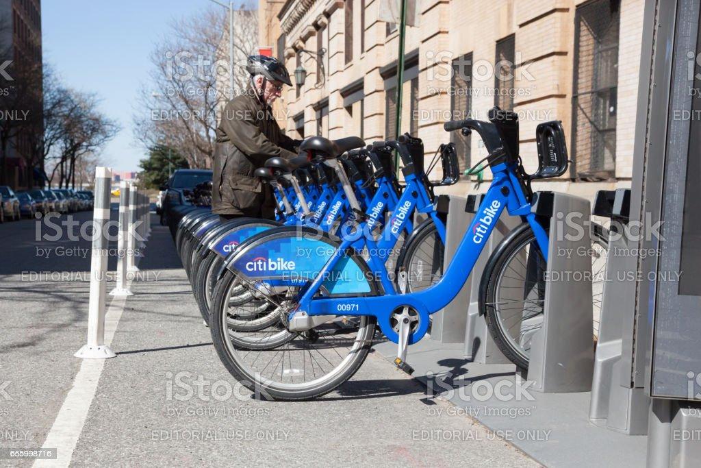 Citibank Bicycle Share New York City stock photo