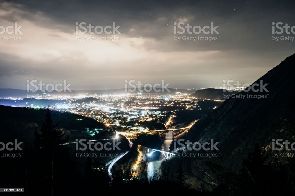 Cities at the Border Between Italy and Slovenia stock photo