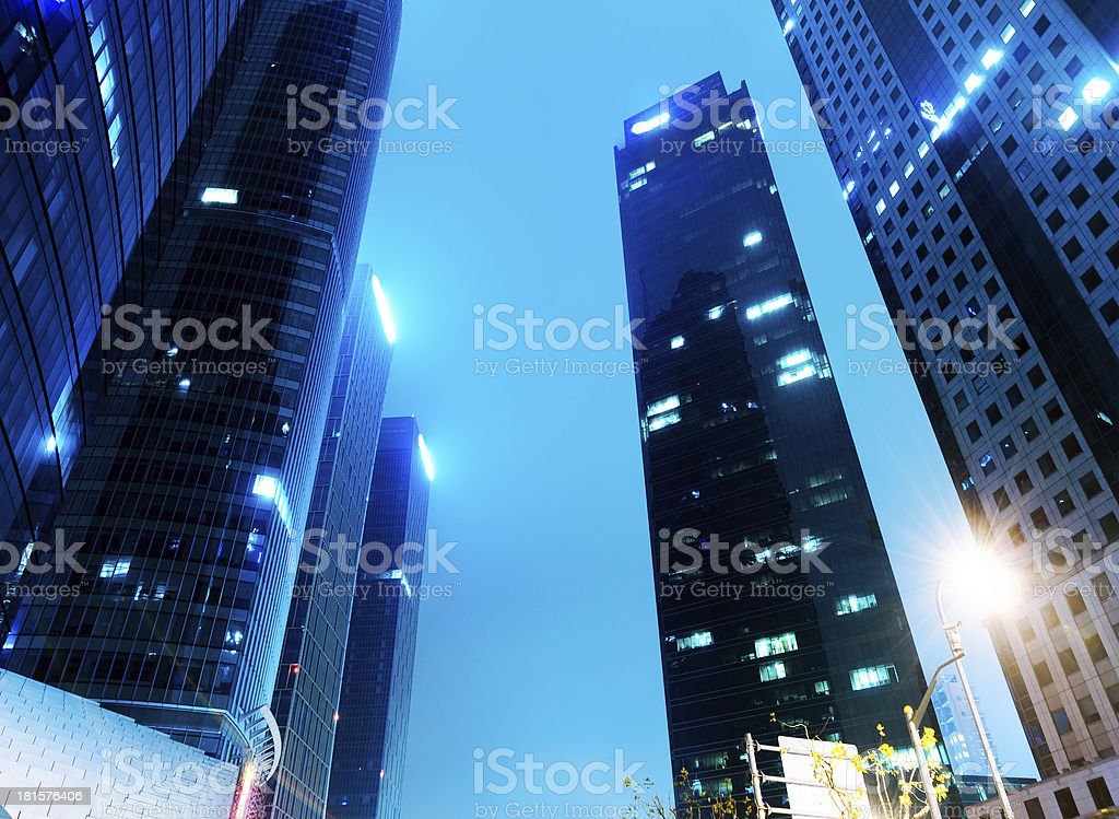 Cities of skyscrapers at night royalty-free stock photo
