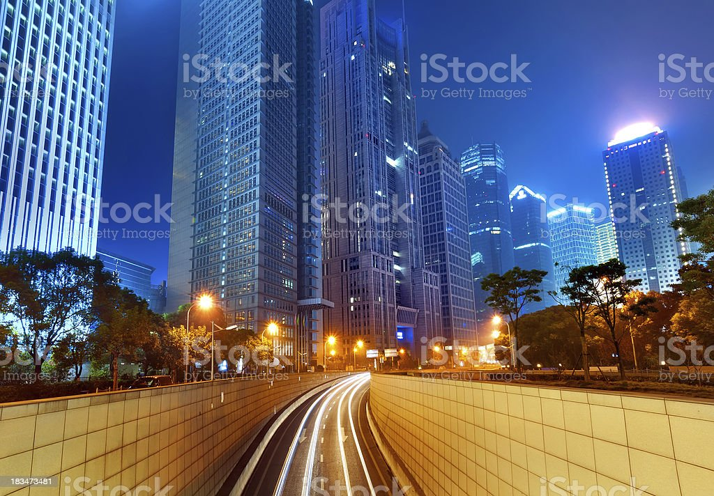 Cities of skyscrapers at night stock photo