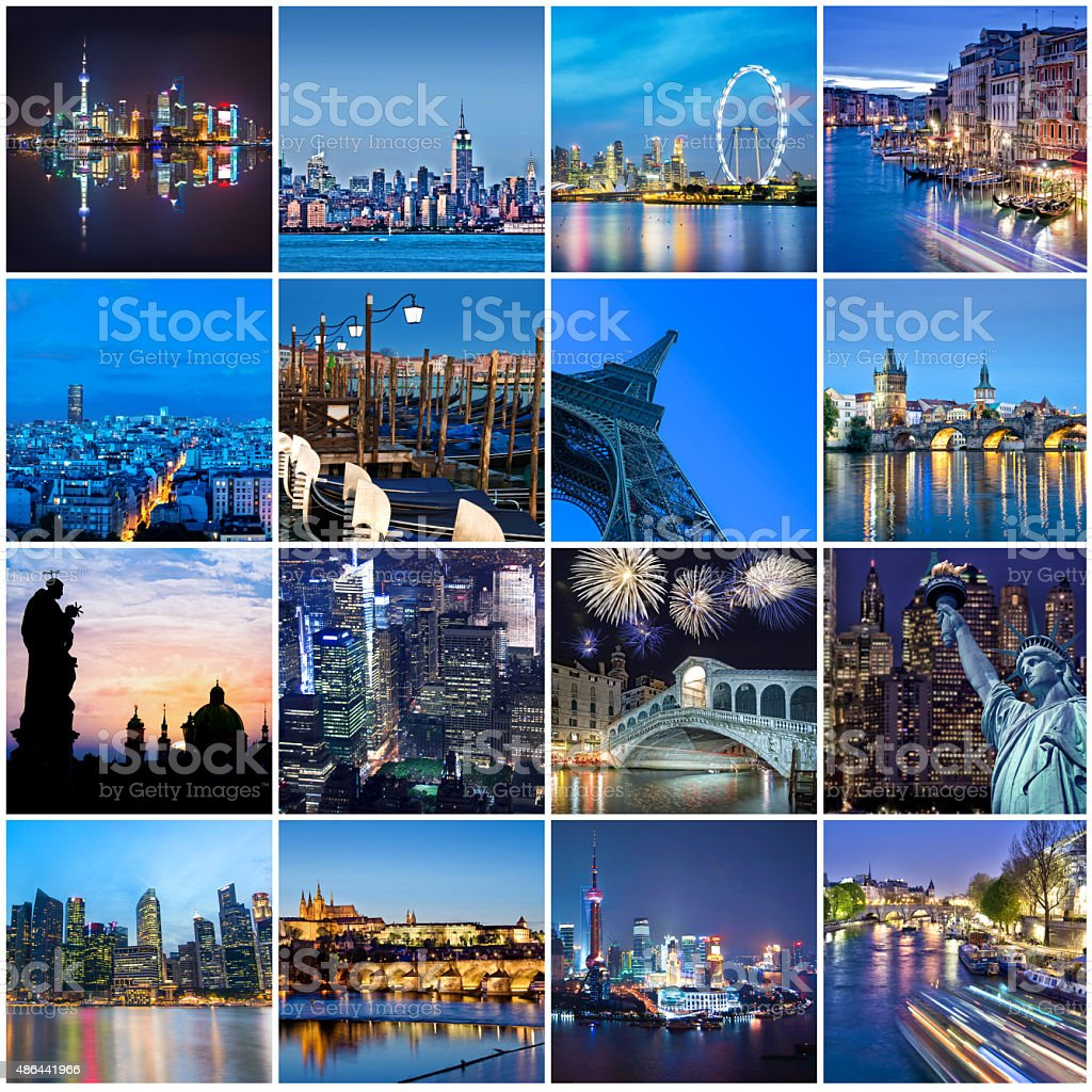Cities of the word at night, square collage stock photo