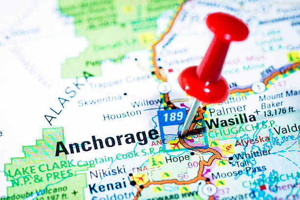 us cities on map series: anchorage, alaska - alaska us state stock photos and pictures