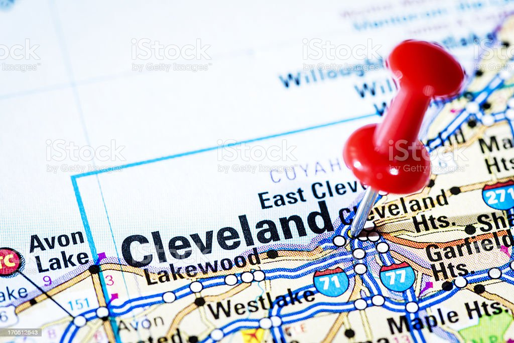 Us Cities On Map Series Cleveland Ohio Stock Photo IStock - Cleveland us map