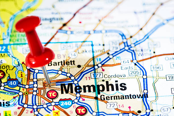 us cities on map series: memphis, tennessee - tennessee map stock photos and pictures