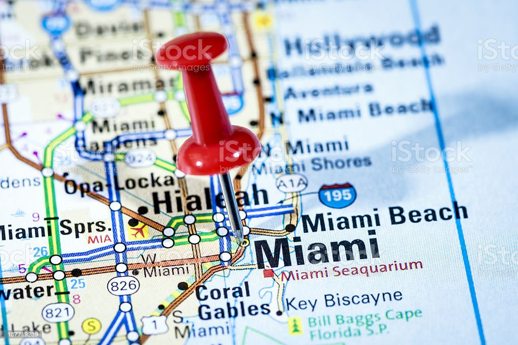 US cities on map series: Miami, Florida stock photo