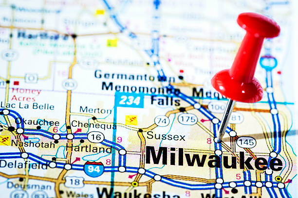 US cities on map series: Milwaukee, Wisconsin US cities on map series: Milwaukee, Wisconsin milwaukee wisconsin stock pictures, royalty-free photos & images