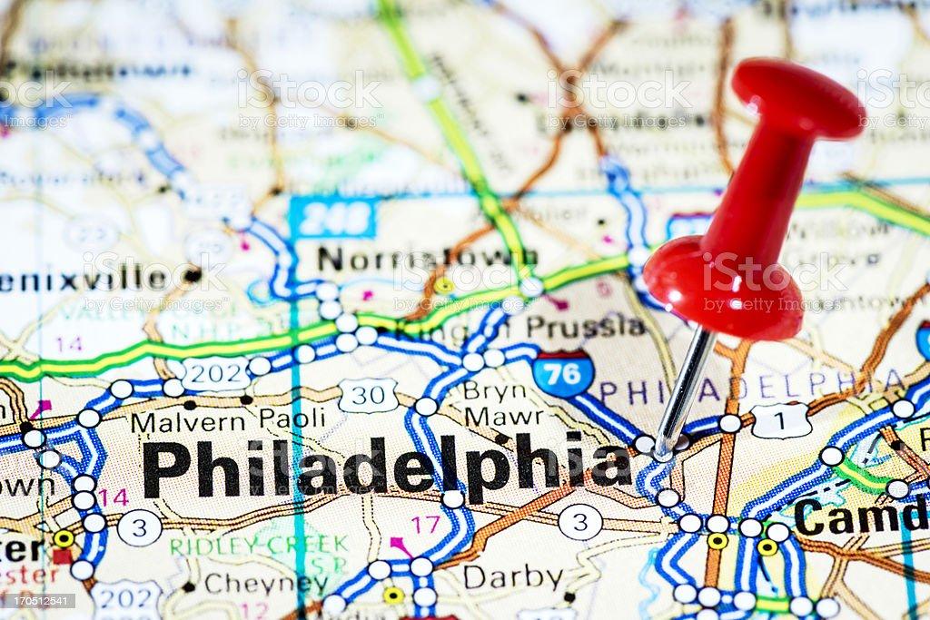 US cities on map series: Philadelphia, Pennsylvania stock photo