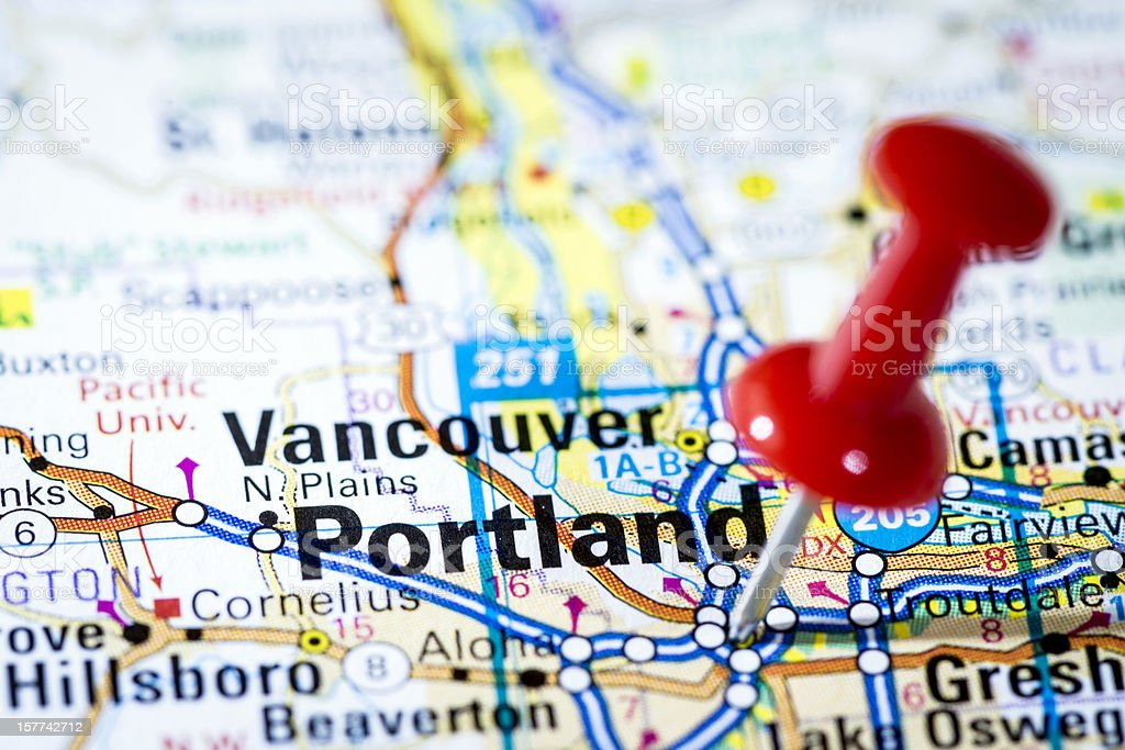 Us Cities On Map Series Portland Oregon Stock Photo & More Pictures ...