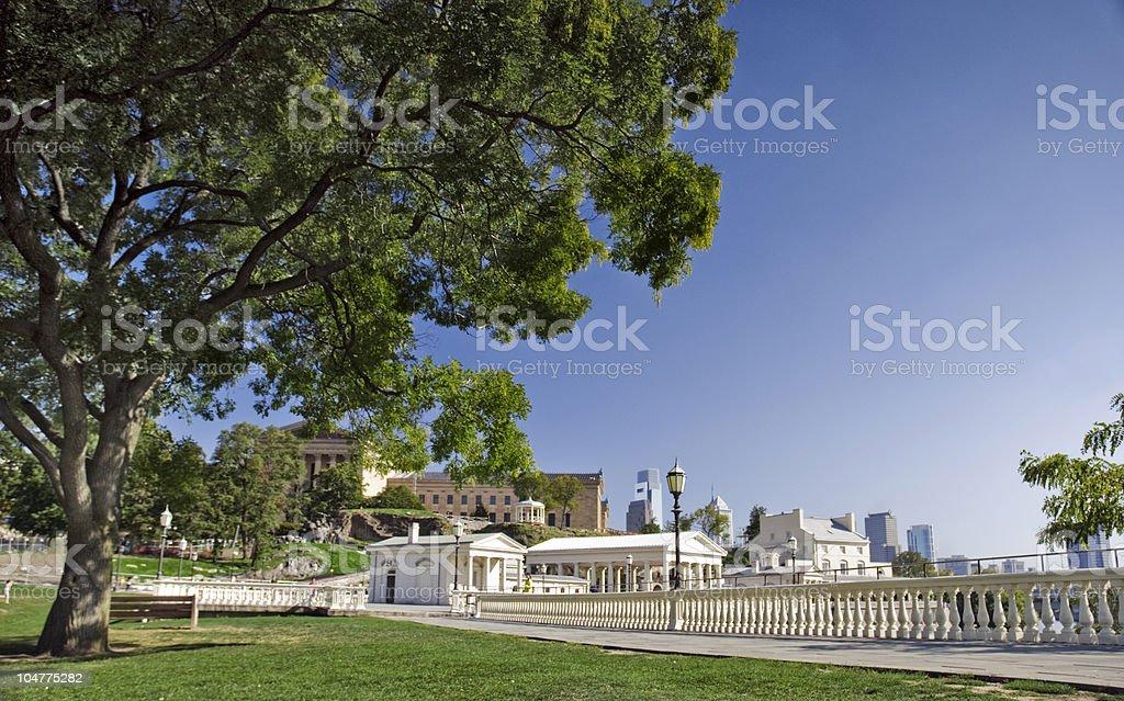 Cities; Park near Waterworks, Philadelphia royalty-free stock photo