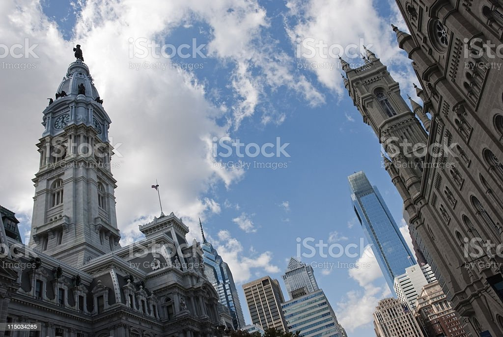 Cities; Philadelphia center city skyline stock photo
