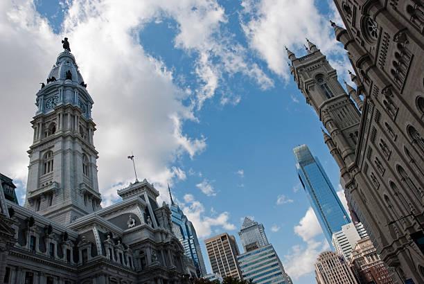 Cities; Philadelphia center city skyline stock photo