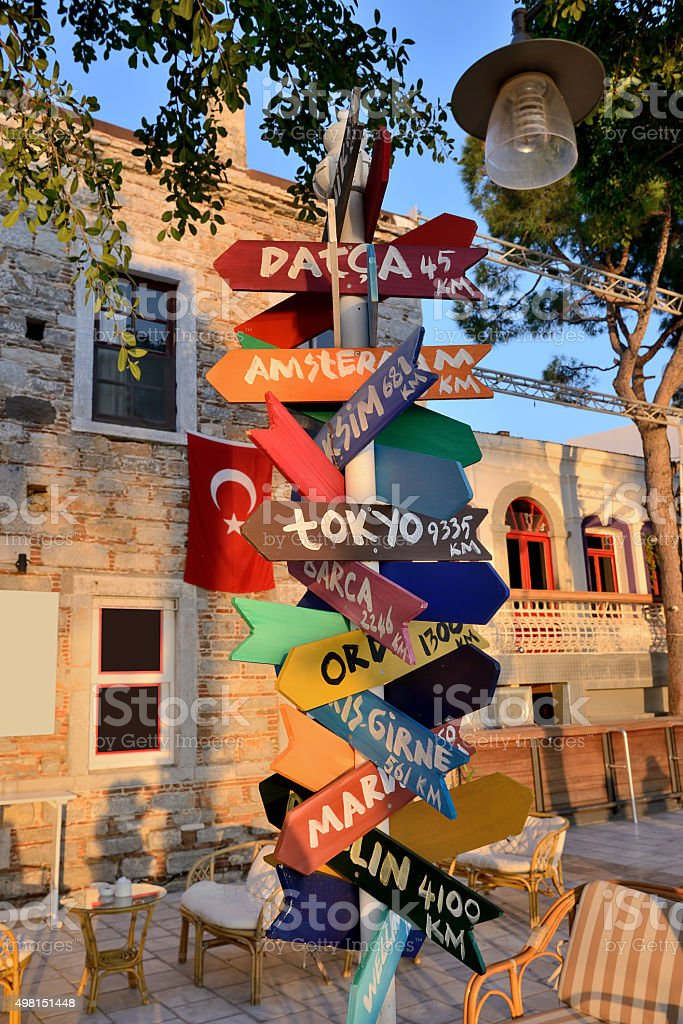 Cities sign direction from Bodrum stock photo
