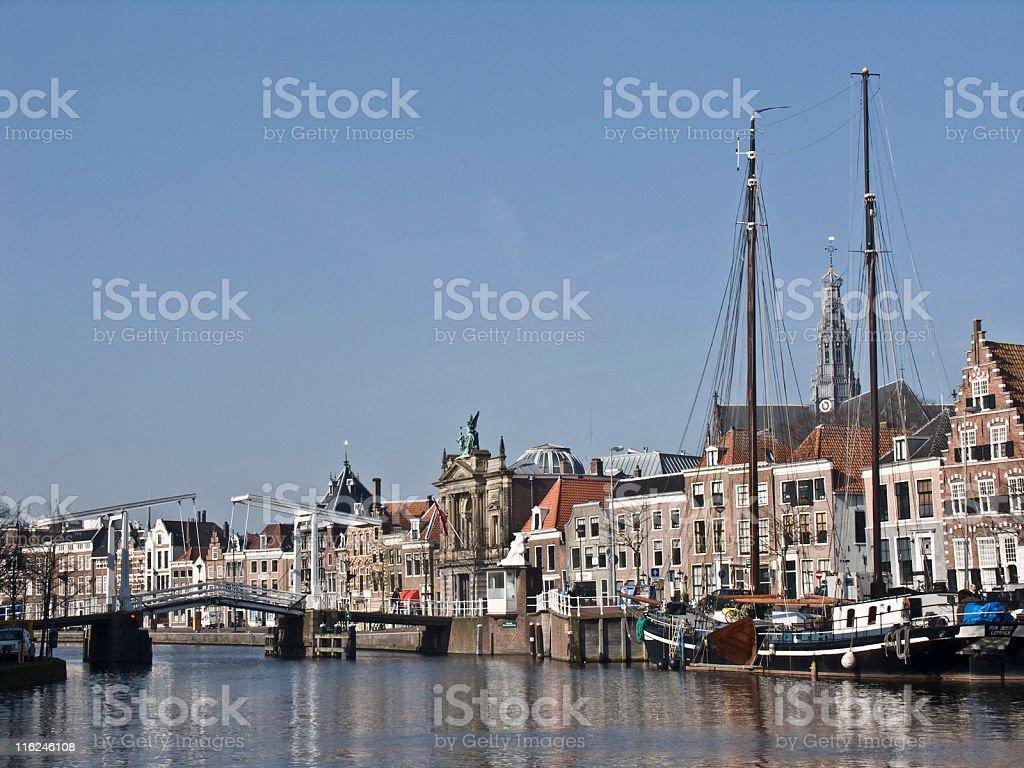 Cities; Spaarne river in Haarlem NL stock photo