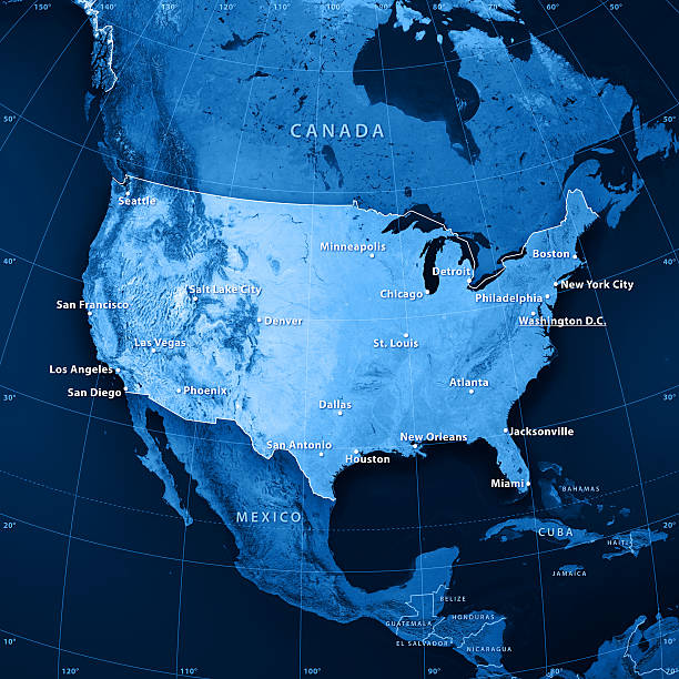 usa cities topographic map - north america stock photos and pictures
