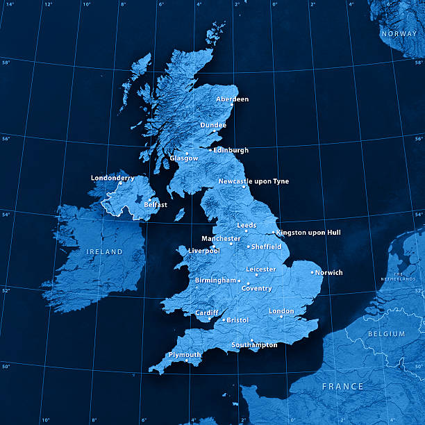 uk cities topographic map - english channel stock pictures, royalty-free photos & images