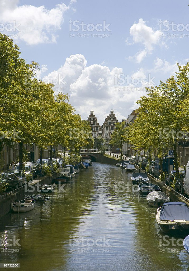 Cities; Typical Dutch canal royalty-free stock photo